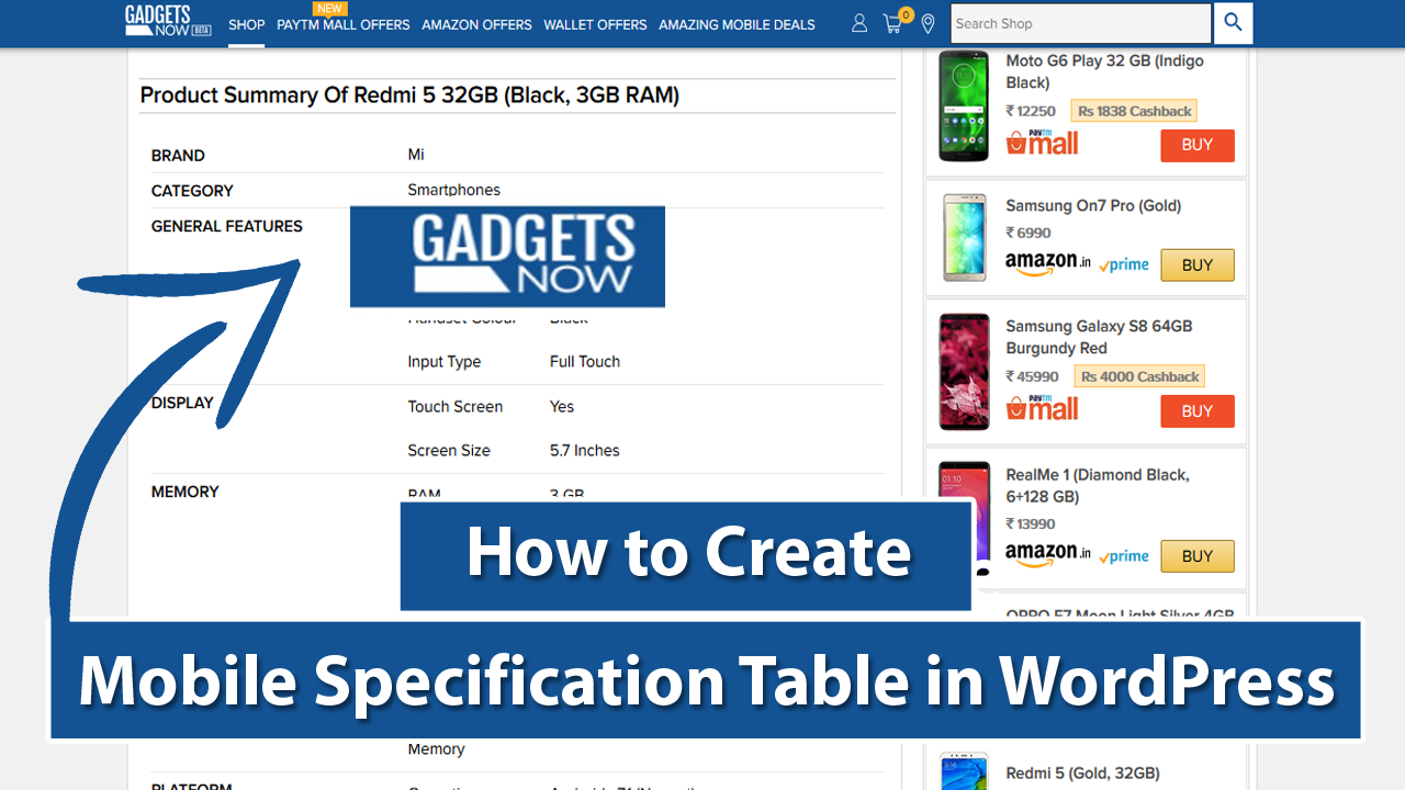 How To Create Mobile Specification Table in WordPress Like Gadgetsnow