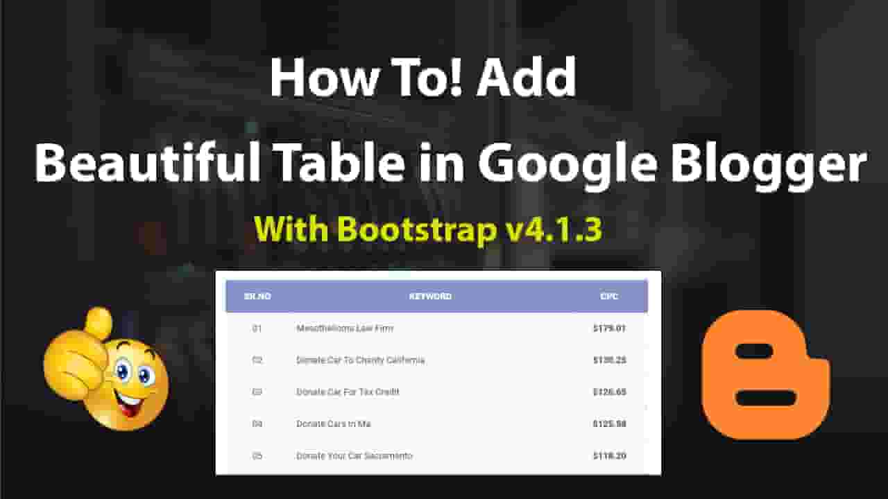 How To Add Beautiful Table in Google Blogger with Bootstrap Hindi