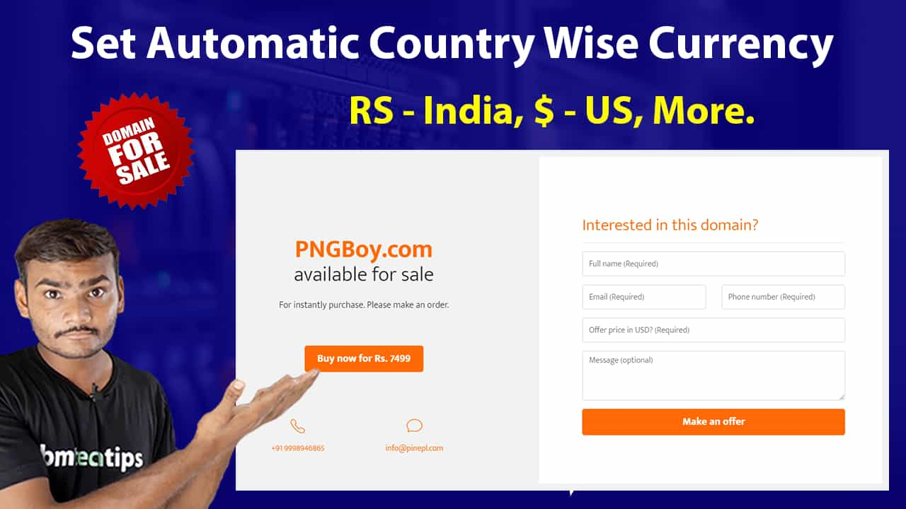 How To Set Automatic Country Wise Currency on Domain for Sale Page